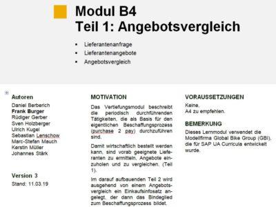 Modul B4 – Vertiefungsmodul Beschaffung